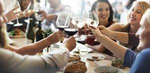 Women drinking wine at restaurant